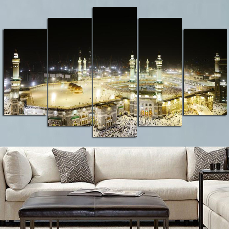 5Panel Print Pilgrimage to Mecca Sacred Oil Painting Religious Architecture islamic Wall Picture for Living Room Cuadros Decor