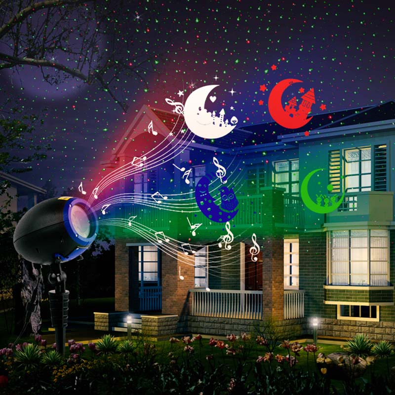 Disco 3W Sound Music Projector RGB Stage Lighting Effect Lamp Christmas KTV Music Party Light JDH99 music note party swing dress