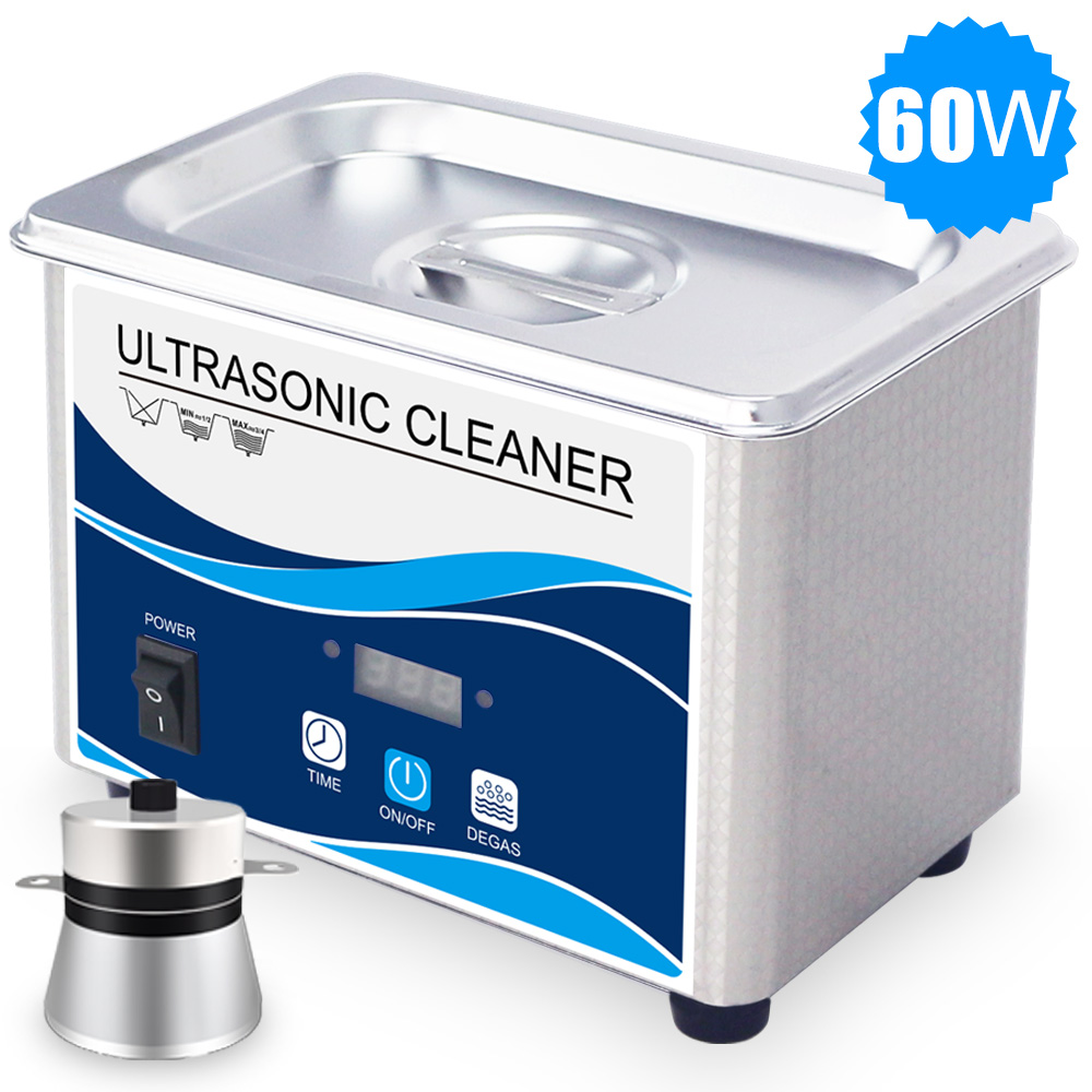 800ml Ultrasonic Cleaner 60W Degas Industrial Transducer Household Jewelry Eyeglasses Watches Chain Ultrasonic Washer