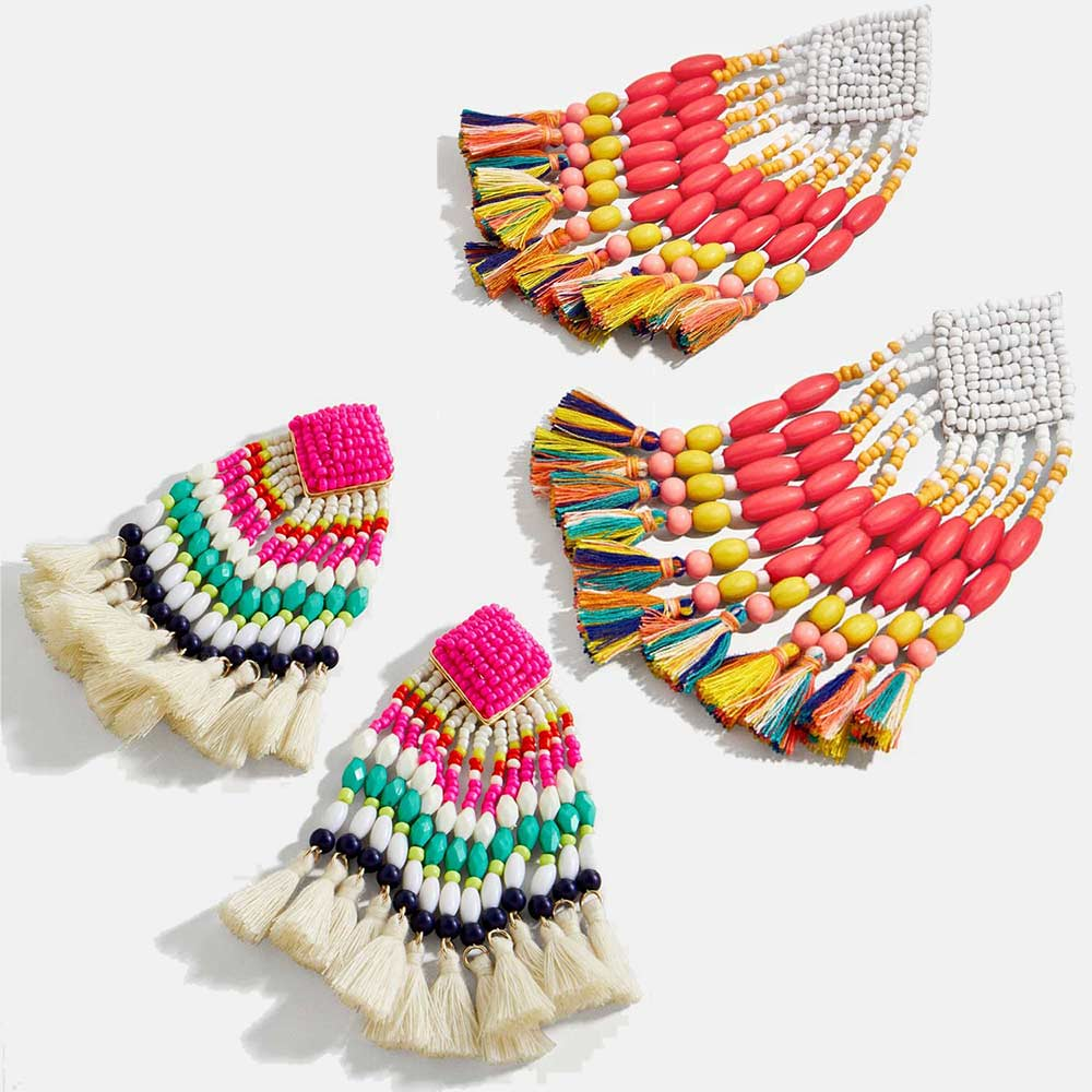 Dvacaman Accessories Drop-Earrings Fringed Statement-Jewelry Ethnic-Beaded Boho Big-Tassel