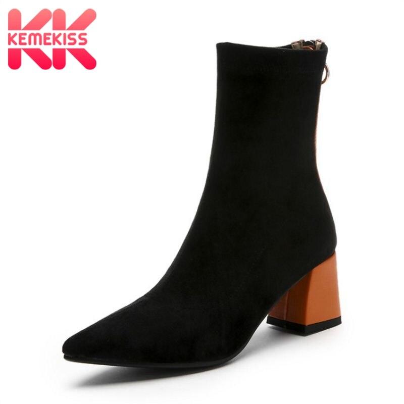 KemeKiss femme vrai cuir bottes mi mollet mixte couleur Zipper femme chaussures chaussette bottes Sexy bottes femme chaussures taille 34-39