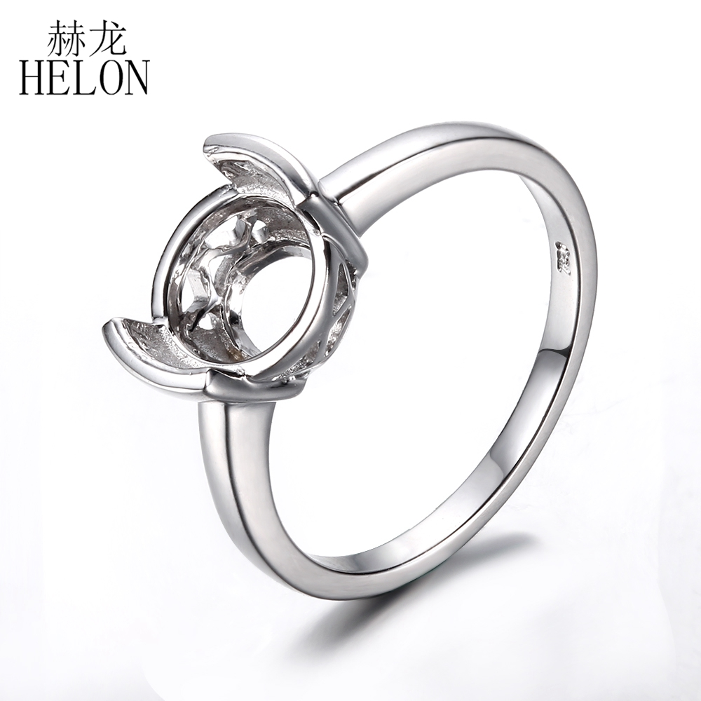 helon tension set 8 5 round shape solid 14k white gold engagement wedding semi mount. Black Bedroom Furniture Sets. Home Design Ideas
