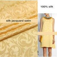 Champagne yellow Grica silk satin jacquard fabric 100% silk 16m/m 110cm