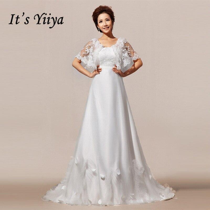 Miễn phí Vận Chuyển 2017 New Custom Made Ren Ngắn Tay Áo Train Wedding Dresses Trắng Real Photo Trailing Bride Gowns HS78