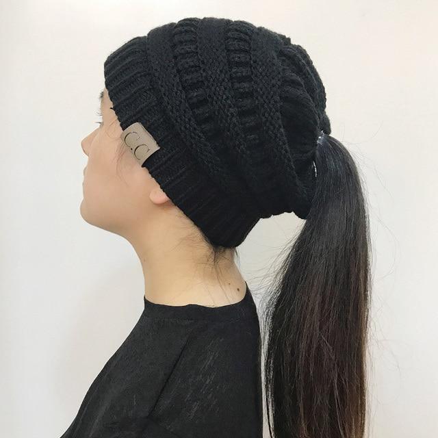 BONJEAN Women Winter Knitted Cap Casual CC labeling Beanies Hat High bun Ponytail 10 colors Hip-Hop Skullies Beanie turban hat