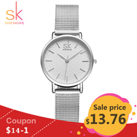 SK Super Slim Sliver Mesh Stainless Steel Watches Women Top Brand Luxury Casual Clock Ladies Wrist