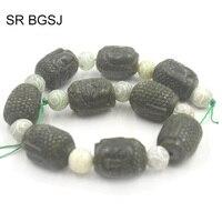 Free Shipping 20x28mm Carved Buddha Head Hua Show Green Jades Genuine Gems Craft Beads Strand 15
