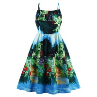 Sisjuly Vintage Dresses Ocean Style Summer Flower Print Green Elegant Dress Spaghetti Strap Sexy Women Party