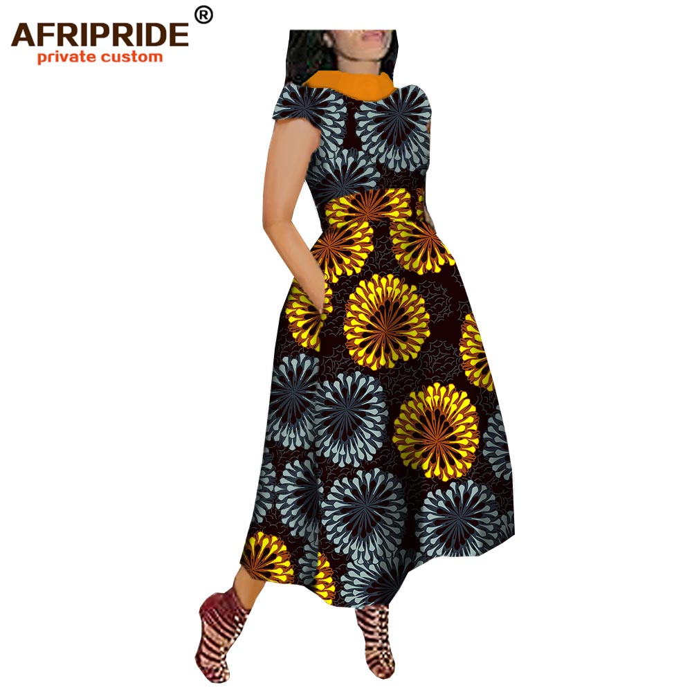 2019 maxi dress for african women AFRIPRIDE private custom V Back short sleeve turn down collar