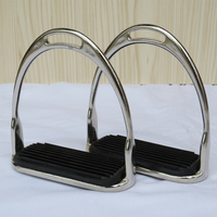 1 Pair Metal Safety Horse Stirrup Horse Riding Rubber Treads Stirrups Equestrian Horse Accessories Silver Paardensport