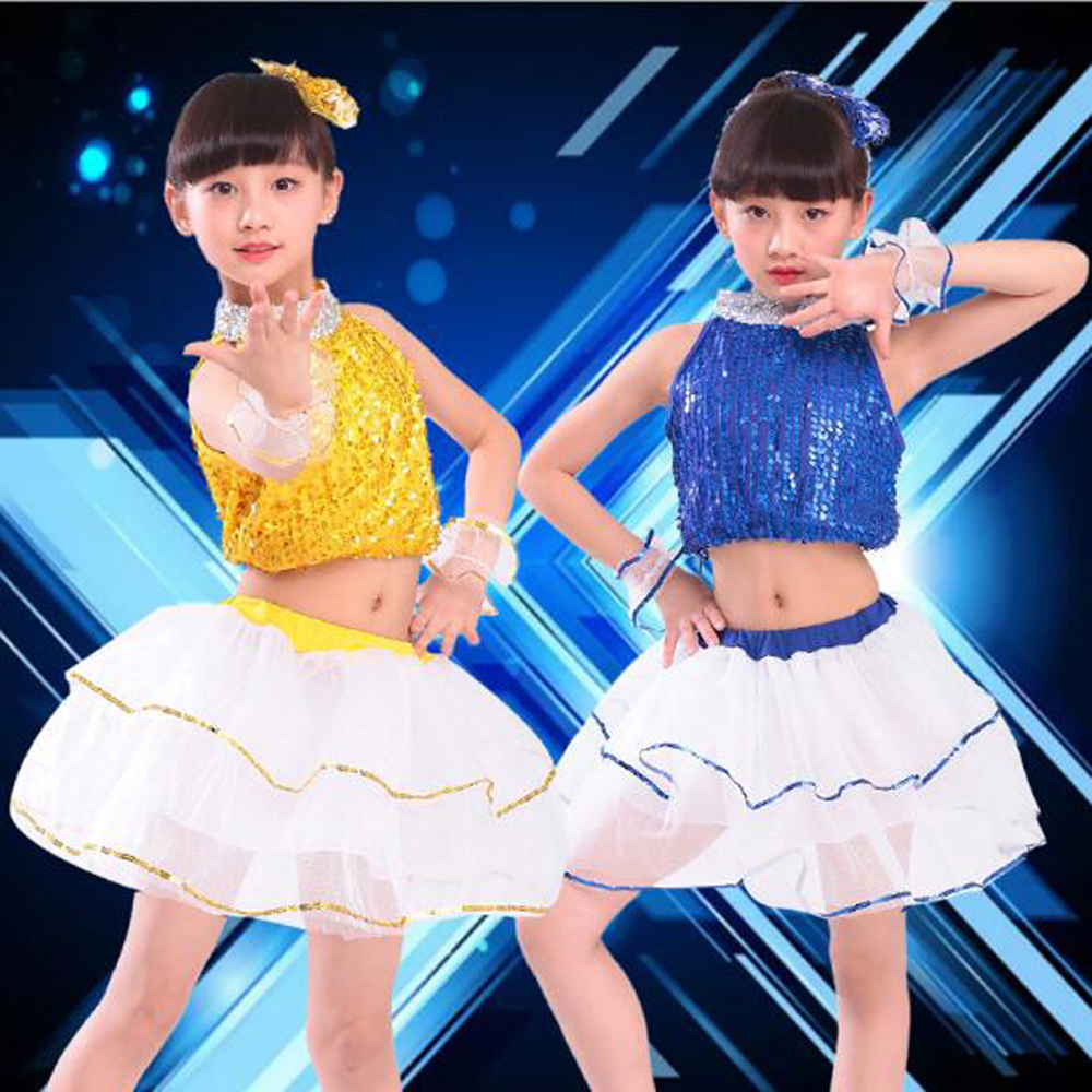 Bazzery Girl Modern Dance Wear Children Stage Performance Costume Latin Skirt Sequined Christmas Performing Ballroom Dance Suit