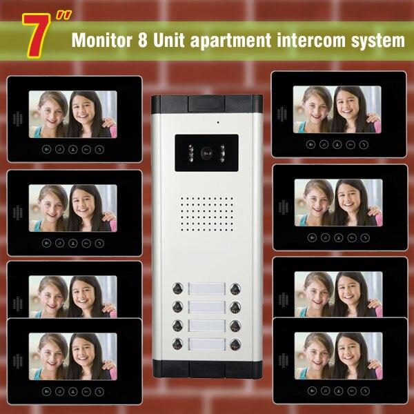 8 units apartment intercom system video doorbell intercom system for apartments video door phone interphone visual intercom Kit my apartment