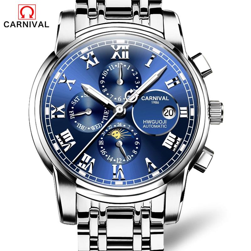 купить CARNIVAL Top Brand Waterproof Luminous stainless steel relogio Men's Luxury Multifunction Tourbillon Automatic Mechanical Watch по цене 6191.85 рублей