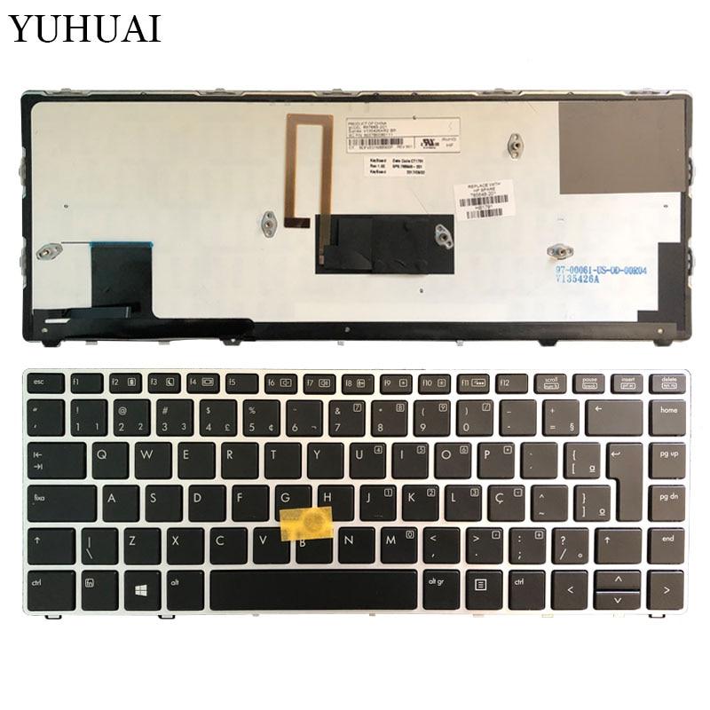 Brésilienne clavier d'ordinateur portable POUR HP EliteBook Folio 9470 M 9470 9480 9480 M cadre argenté avec rétro-éclairage/point 785648-201 6037B0080111