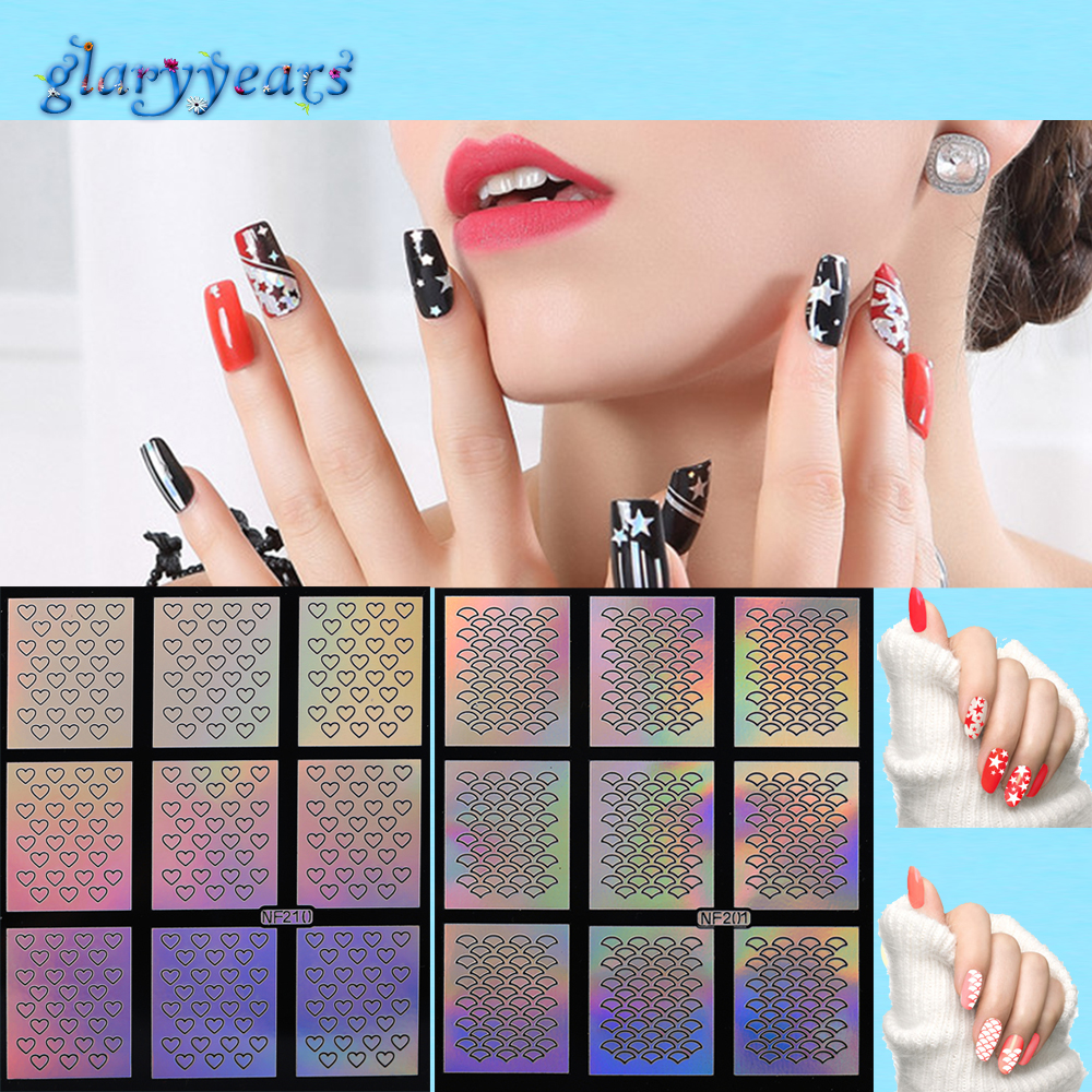 24 Design 1pc Laser Nail Decal Hollow Sticker Airbrush Nail Art Paint Beauty Women Polish Manicures DIY Tool Flower Nail Stencil