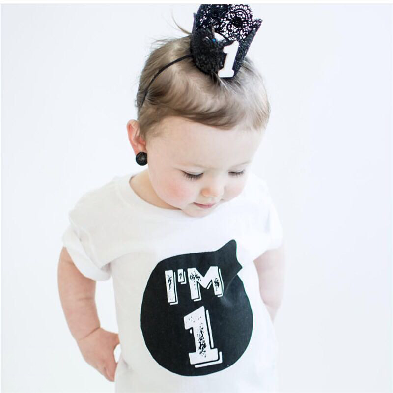 Nebworn Baby 1 2 Year Birthday T Shirts White Black Party Wear Little Girls Boys Tops Shirt Tees For Bebes Clothing In From Mother Kids On