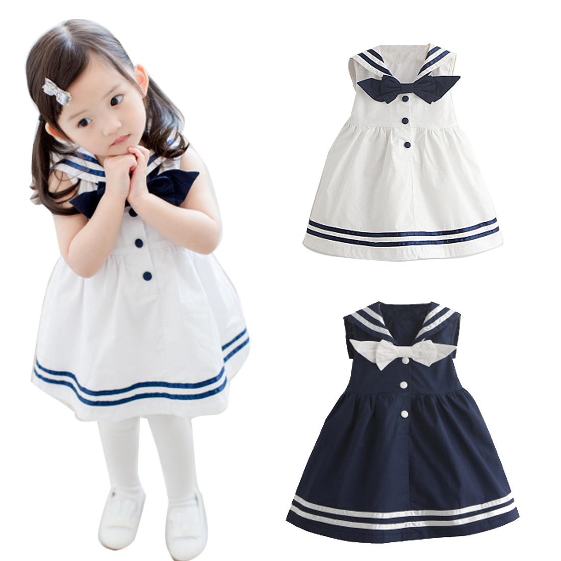 Gaorui Girl sleeveless kid Dress Baby Princess 2017 New Navy Sailor Uniforms Casual Style Girls Dress For Age 3-8 Years