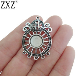 ZXZ 10pcs Round Compass Chandelier Connectors Charm Pendants Blank 10mm Round Cabochon Setting Jewelry Finding