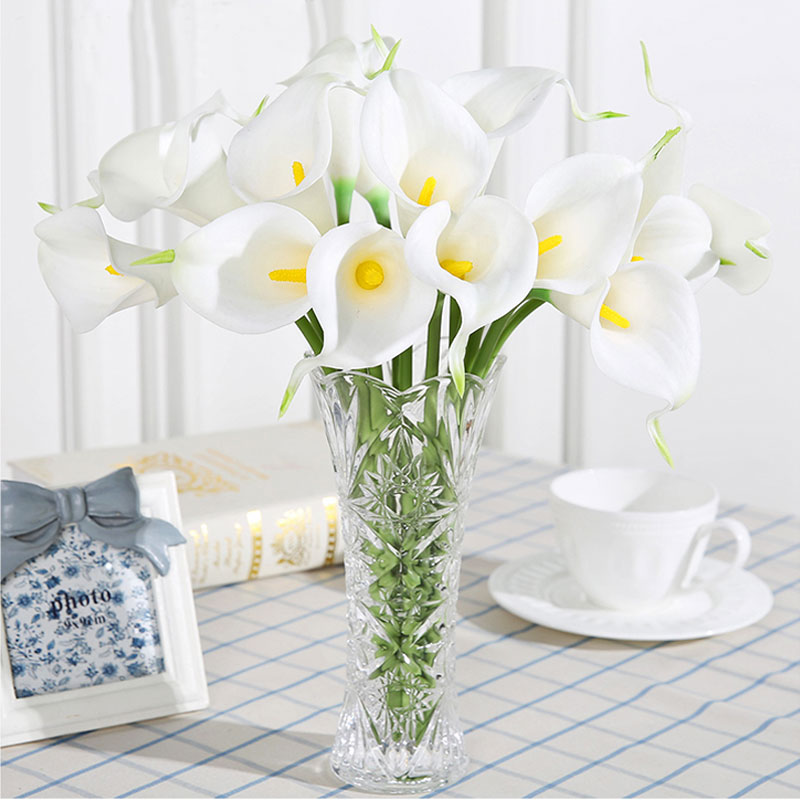 Xuanxiaotong 31pcs Real Touch Purple PU Calla Lily Flowers Artificial Decorative for Wedding Home Table Decoration Fake Flowers in Artificial Dried Flowers from Home Garden