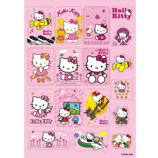 9459f8801 NEW 17pcs/lot lovely cartoon Pink Hello Kitty DIY Stickers for Suitcase notebook  computer Waterproof sunscreen PVC toy decals-in Stickers from Toys ...