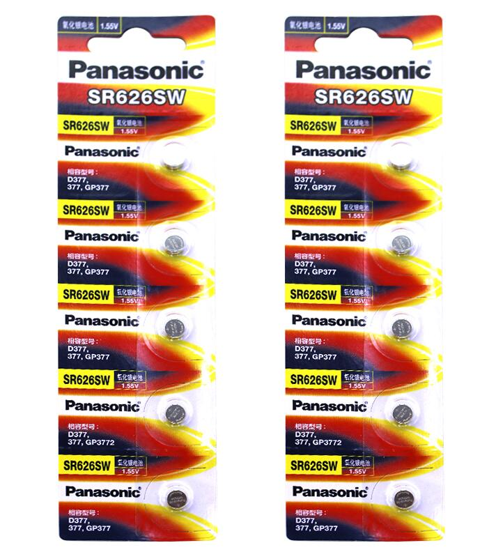 50pcs lot Panasonic SR626SW Silver Oxide Battery G4 377A 377 LR626 SR626SW SR66 LR66 Button Cell Watch Coin Batteries in Button Cell Batteries from Consumer Electronics