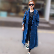 [XITAO] NEW autumn long slimming form turn-down collar open stitch single breasted solid color female denim trench NHB-003
