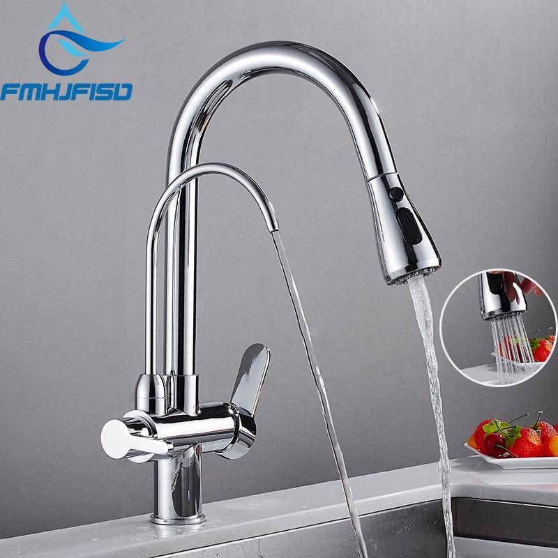 Chrome Nickel Black Kitchen Faucet Dual Spout Drinking Water Brass Purifier Vessel Sink Mixer Tap Hot