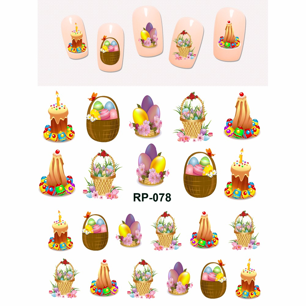 NAIL ART BEAUTY NAIL STICKER WATER DECAL SLIDER CARTOON EASTER COLORFUL RABBIT FLORID EGG  RP073-078
