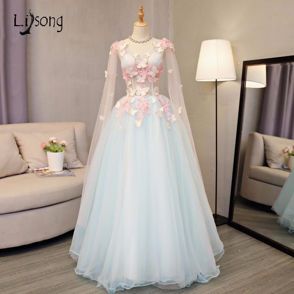 Pretty Sky Blue Butterfly Tulle Prom Dresses 2017 With Full Sleeves Floral Prom Gowns Plus Size Retro Formal Party Dress A156