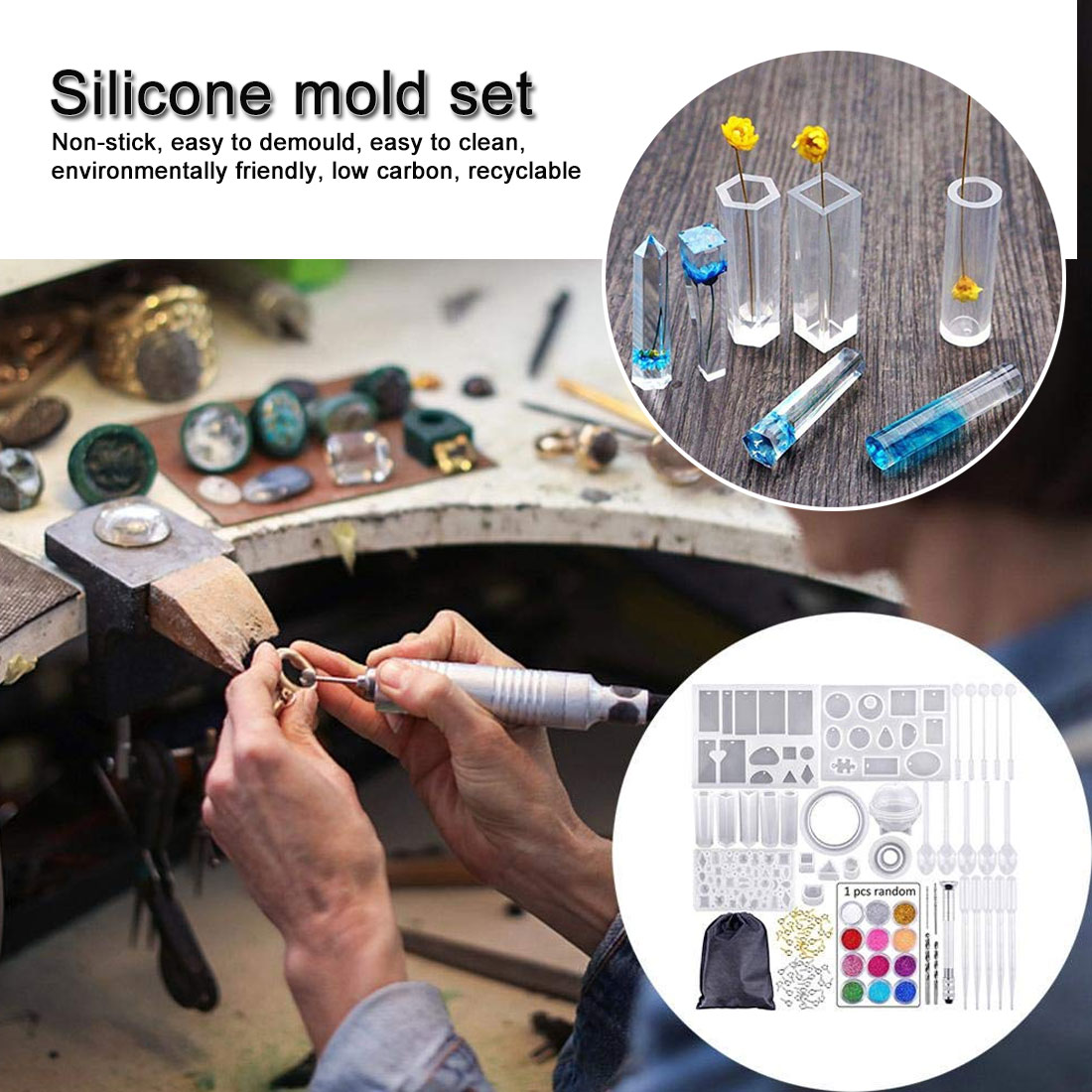 Mold suit Epoxy Resin Kit DIY Jewelry Making Tools Shiny Powder Cup Silicone Mold Necklace Pendant Ring Gifts Handmade Creative in Jewelry Tools Equipments from Jewelry Accessories