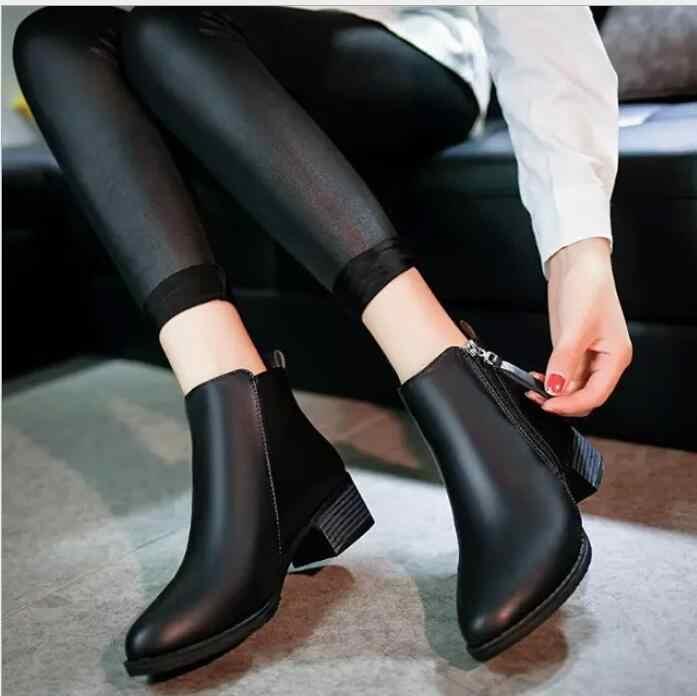 2019 Yeni Sonbahar Kış Kadın Çizmeler Süet Kadın Yan Fermuar Martin Çizmeler Vintage Moda yarım çizmeler zapatos mujer