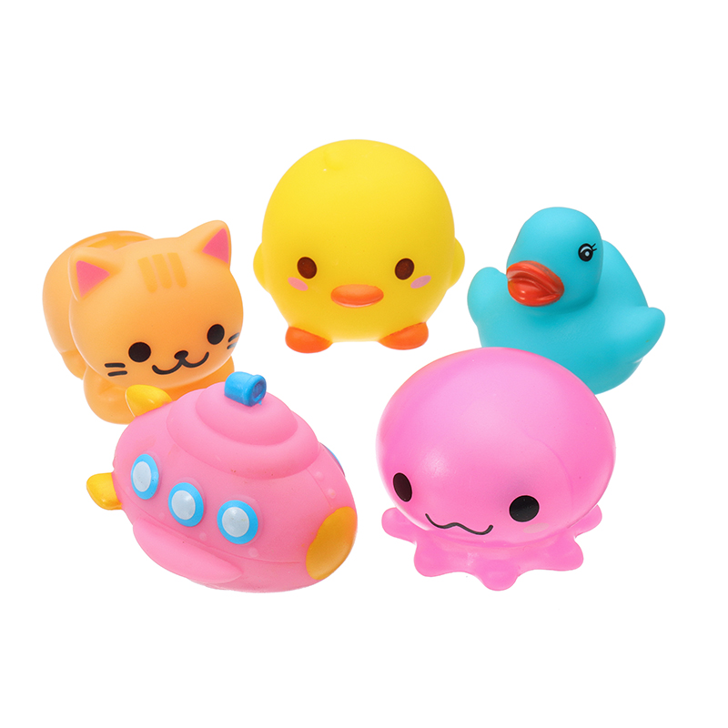 5PCS Baby Bath Toys In The Bathroom Rubber Duck Animals Boat Kid Water Squeeze Flash Bea ...