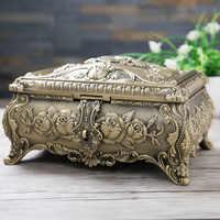 New European Creative Diamond Jewelry Box Metal Large Rectangular Multi layer Storage Box High end Home Jewelry Box