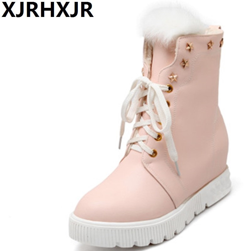 XJRHXJR Autumn Winter Mid Calf Snow Boots Fashion Hidden Heel Lace Up Platform Short Boots Women Warm Shoes Fur Plush Boots 2016 new warm snow boots women plush winter mid calf boots fashion wedding shoes brand lady botas flat shoes
