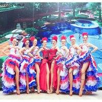 new sexy Feather dance costume Opening dance performance Spanish flamenco dress