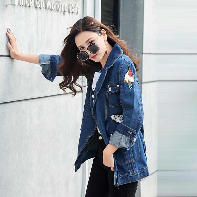 Denim Mode Manteaux Lavé Loisirs Vestes Outwear Appariés Bleu 2018 Top Tous Lâche Grue Hot Floral Broderie Manches Zipper À Longues wFxYAqXPO