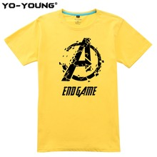 Yo-Young Men T-Shirts Marvel Avengers Endgame Broken LOGO Print 100% 180 gsm Combed Cotton Summer Top Tee Shirt Homme Customized