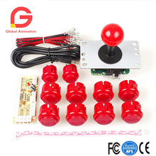 Zero Delay USB Encoder To PC Controller OEM 5Pin Joystick + 10 Push Buttons For Arcade DIY Kits Parts Mame #Red