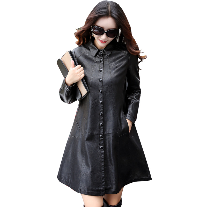 Women Faux   Leather   Jacket 2018 Ladies New Washed PU   Leather   Trench Winter Long Black Coats Female Slim Outerwear Plus Size