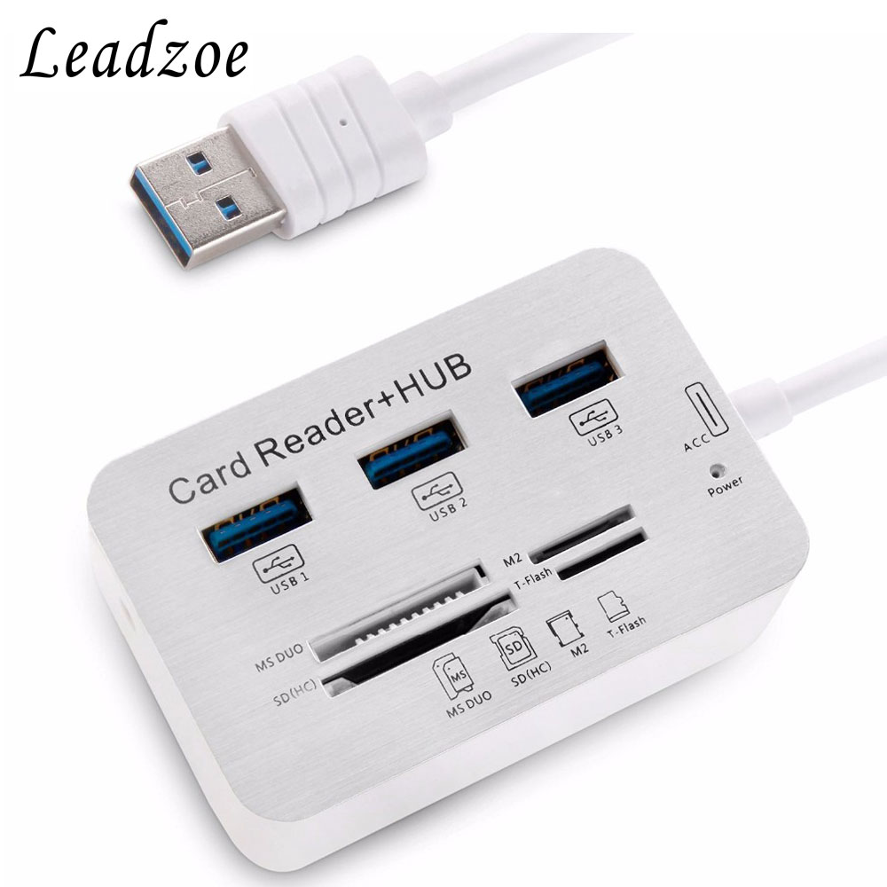 цена на Card Reader Leadzoe USB Hub Splitter with 3 USB 3.0 Hub Port and SD/TF/MS/M2 Multi-In-1 Smart Card Reader