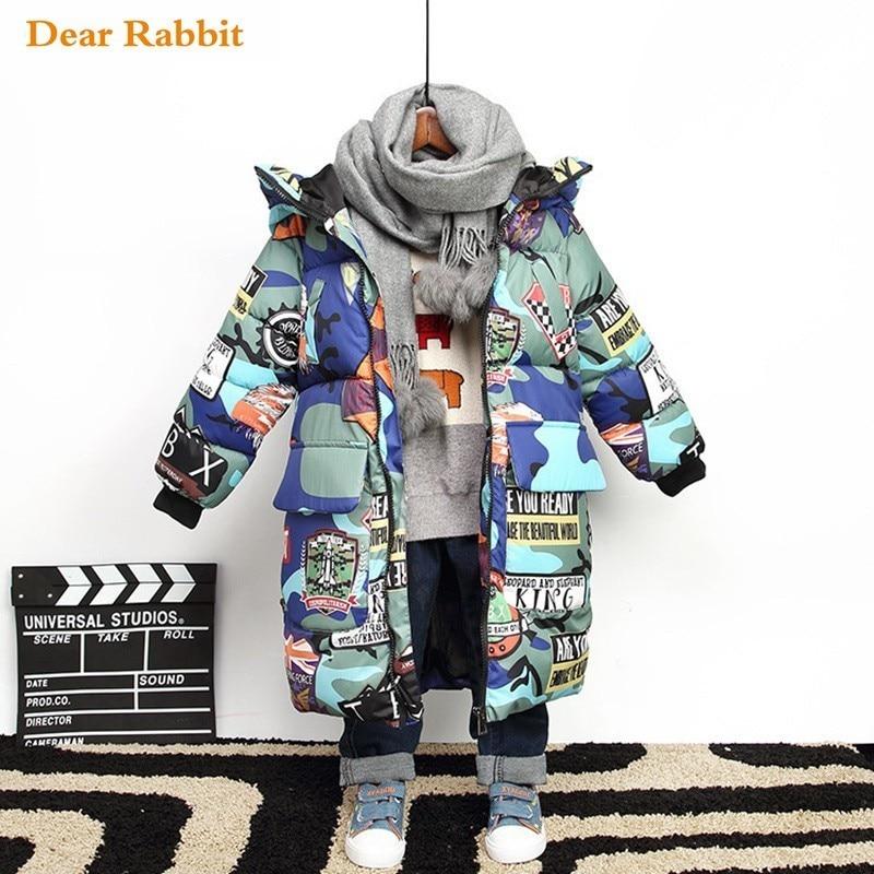 Детская зимняя пуховая хлопковая куртка на мальчика и девочку, парка с капюшоном для морозов до-30 градусов, детская теплая верхняя одежда, ...