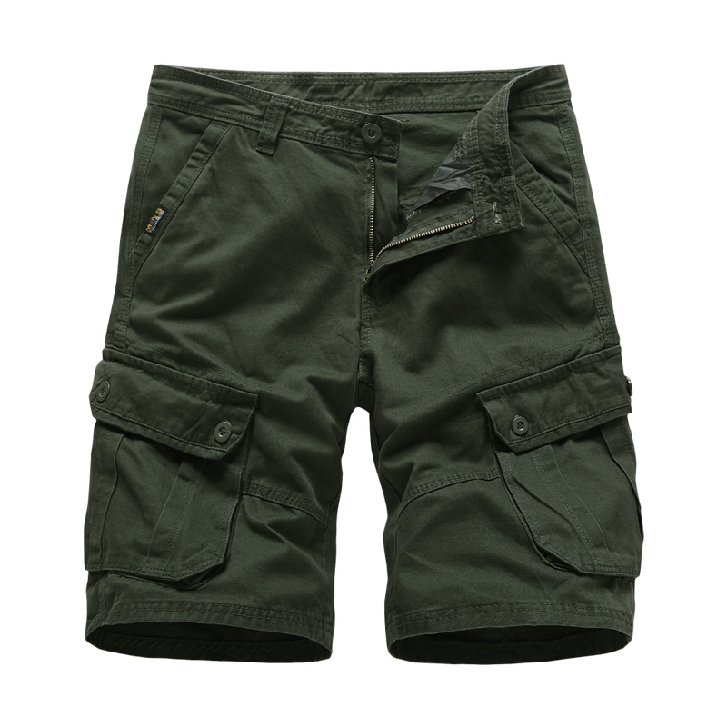 Cargo   Shorts   Men Cotton Bermuda Male Summerer Military Style Straight Work Pockets Black   Short   Pants Casual Army Green Shors Man