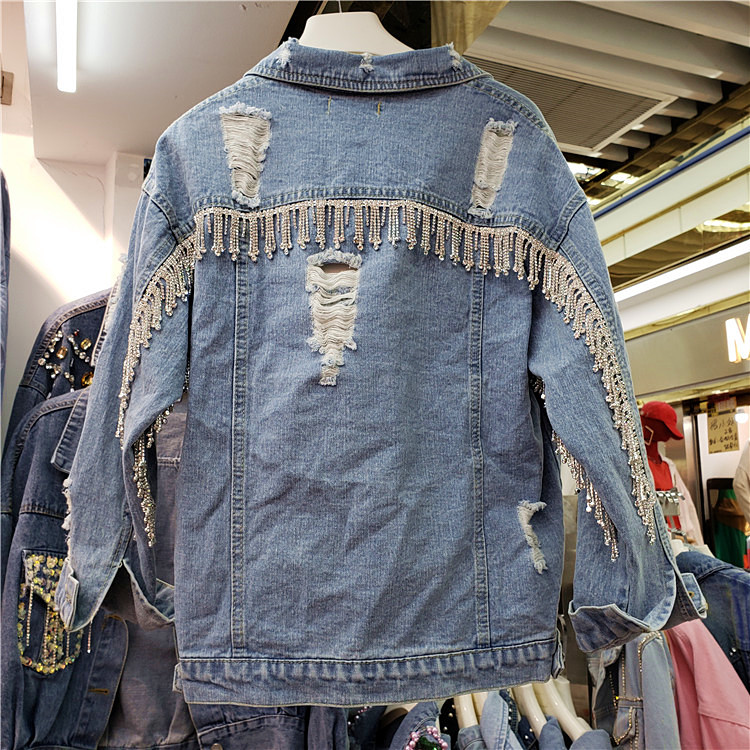 Lâche Automne New Street Dame Manteau Printemps Femmes Denim Diamant gland Bleu High Trous Forage Veste Personnalité 2019 Nw8vmn0