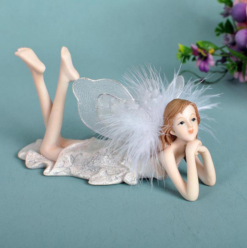 Beautiful Girl Creative Gifts Resin Angel Ornaments Home Decor Miniature Flower Fairy Figurines Wedding decoration