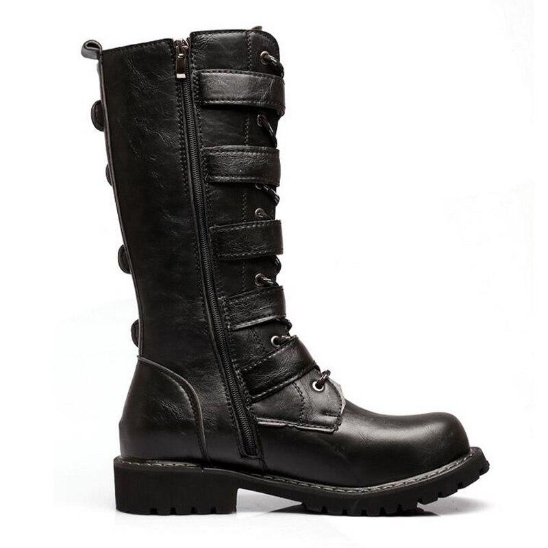 Mb2013 Punk Joyhopy Chaussures Bota Pu Black Hommes Boucle Cuir De Automne Haute Militaire Ceinture Homme Moto Masculina Hiver Bottes En Top bfyI6Yvg7