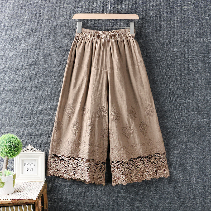 small fresh elastic waist water soluble embroidery lace lacing patchwork   Wide     leg     pants   basic   pants   female