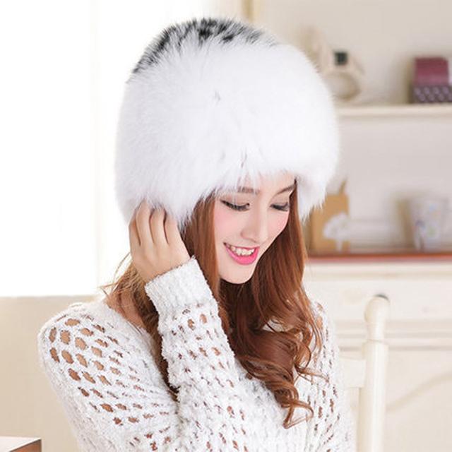 A nova fêmea de pele de raposa chapéu de couro quente de inverno chapéu da forma chapelaria