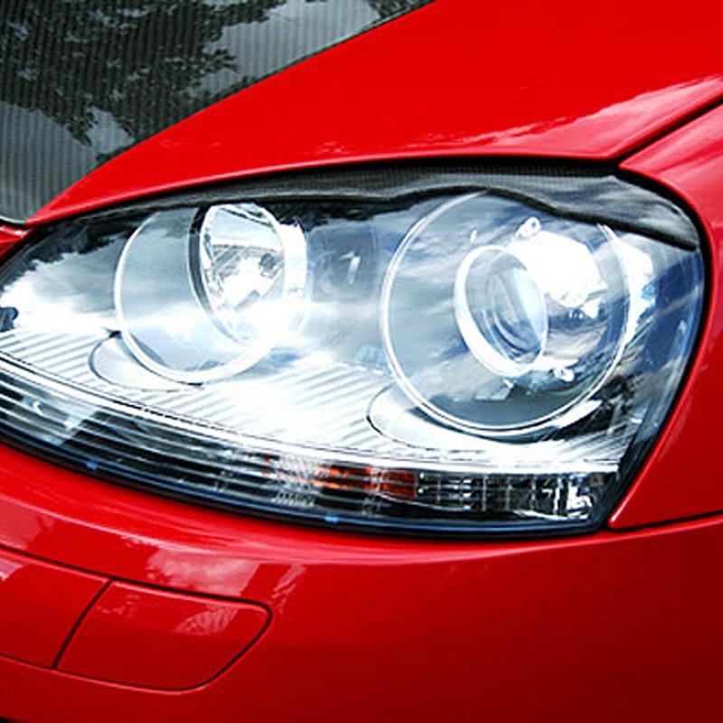 MK5 Carbon Fiber Front Headlight Eyelid Covers Trim Eyebrows For VW Golf 5 MK5 2005 2007