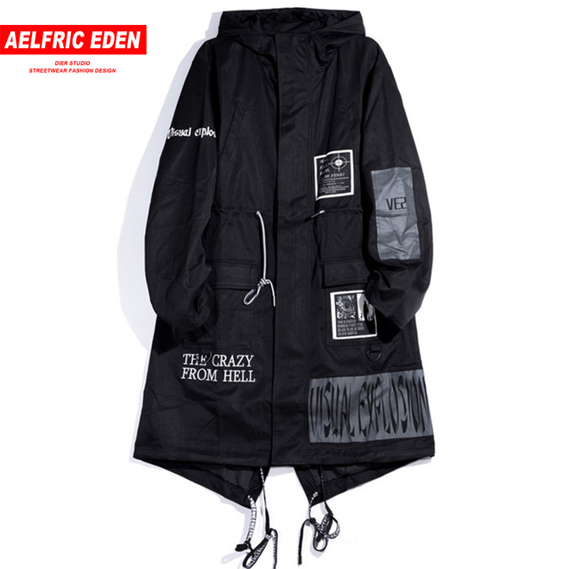 Aelfric エデンゴシックロングトレンチコートの男性 2018 ヒップホップフード付きウインドブレーカージャケットファッション黒盗品のオーバーコート KJ39
