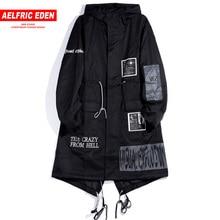 Aelfric Eden ยาว Trench Gothic แจ็คเก็ตชาย 2019 Hip Hop Hooded Windbreaker แจ็คเก็ตเสื้อแฟชั่น Streetwear Swag เสื้อกันหนาว